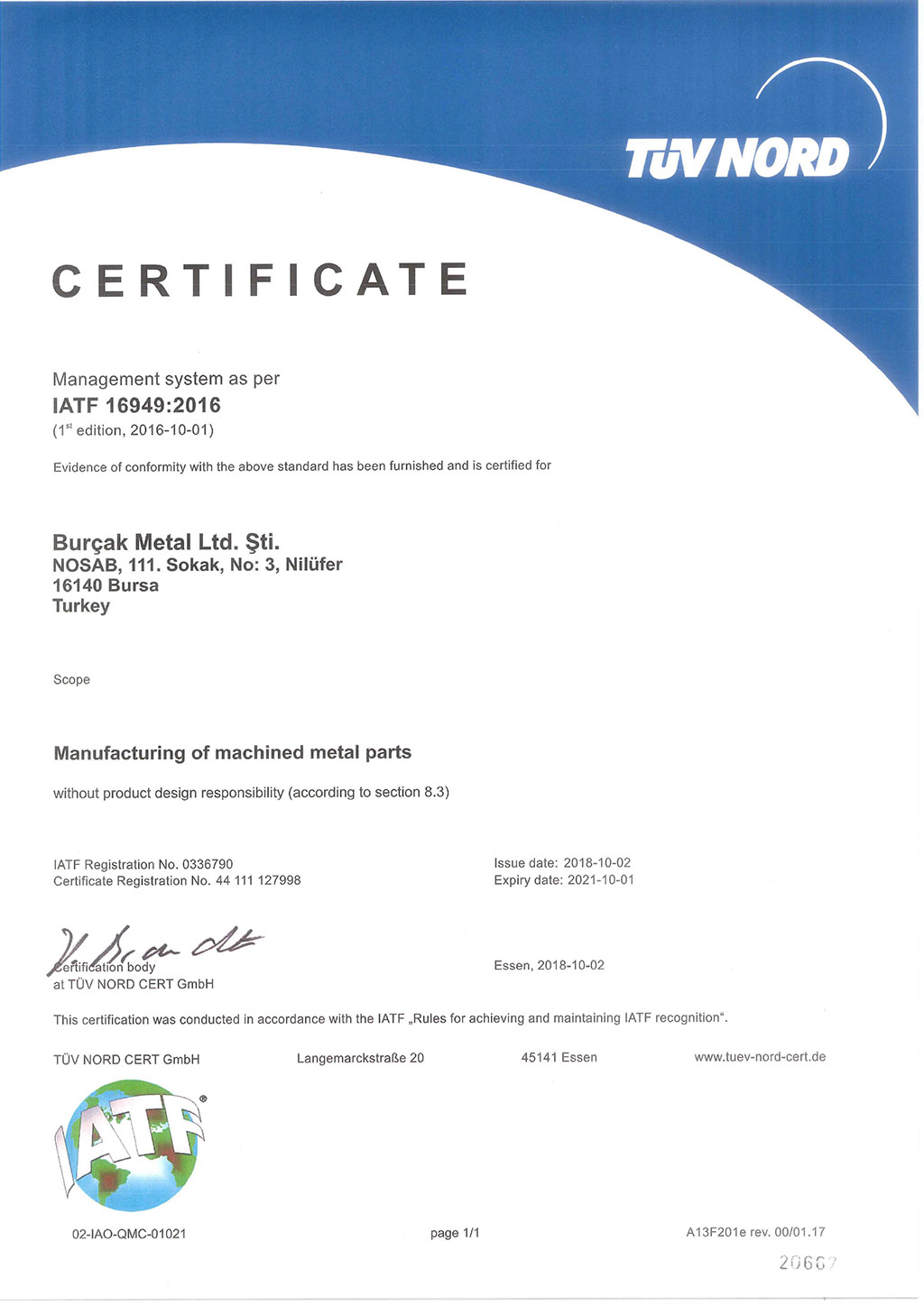IATF 16949:2016 QUALITY MANAGEMENT SYSTEM CERTIFICATE