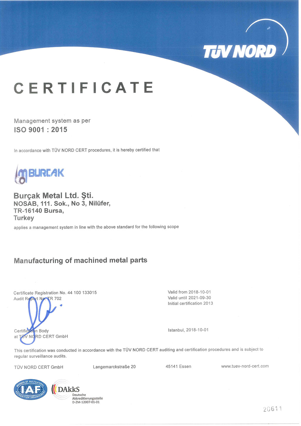 ISO 9001:2015 QUALITY MANAGEMENT SYSTEM CERTIFICATE